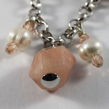 .925 RHODIUM SILVER BRACELET WITH PINK JADE, WHITE PEARLS AND ROSE CRISTAL image 2