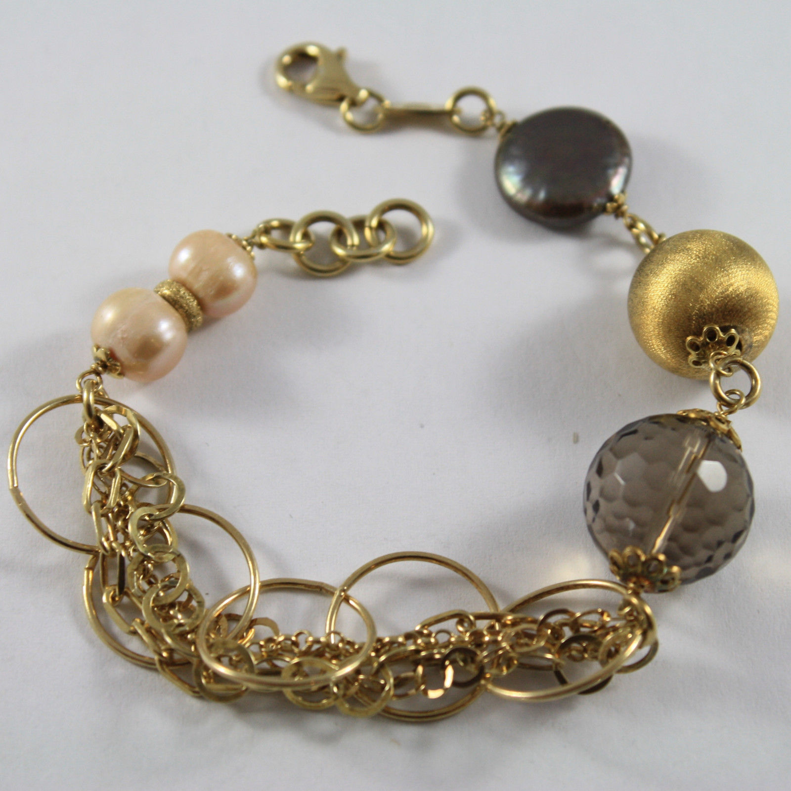 .925 RHODIUM SILVER BRACELET GOLD PLATED WITH SMOKY QUARTZ  AND ROSE PEARLS