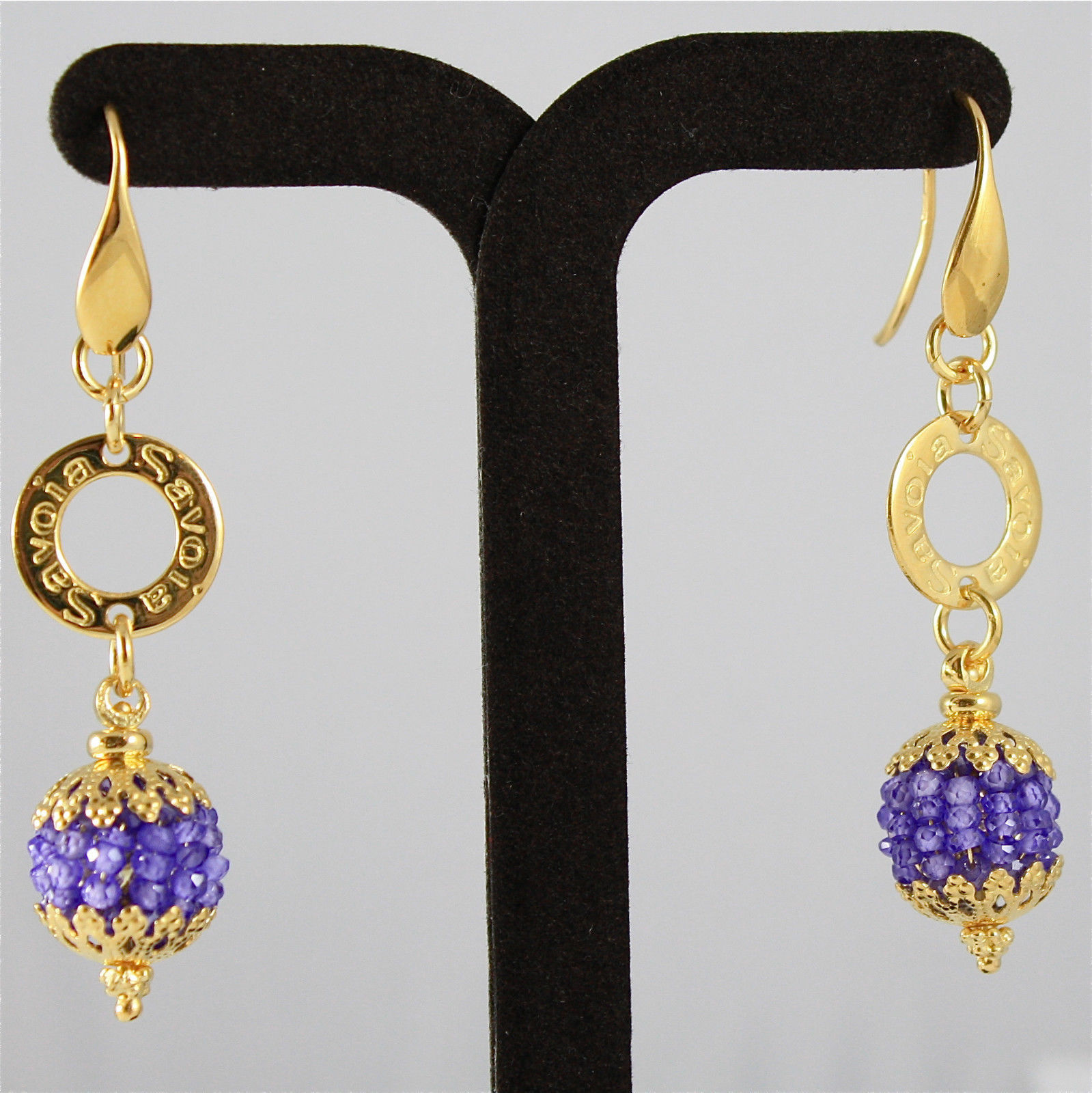 925 SILVER EARRINGS, GOLD PL, FACETED AMETHYST, MADE IN ITALY BY SAVOIA JEWELS