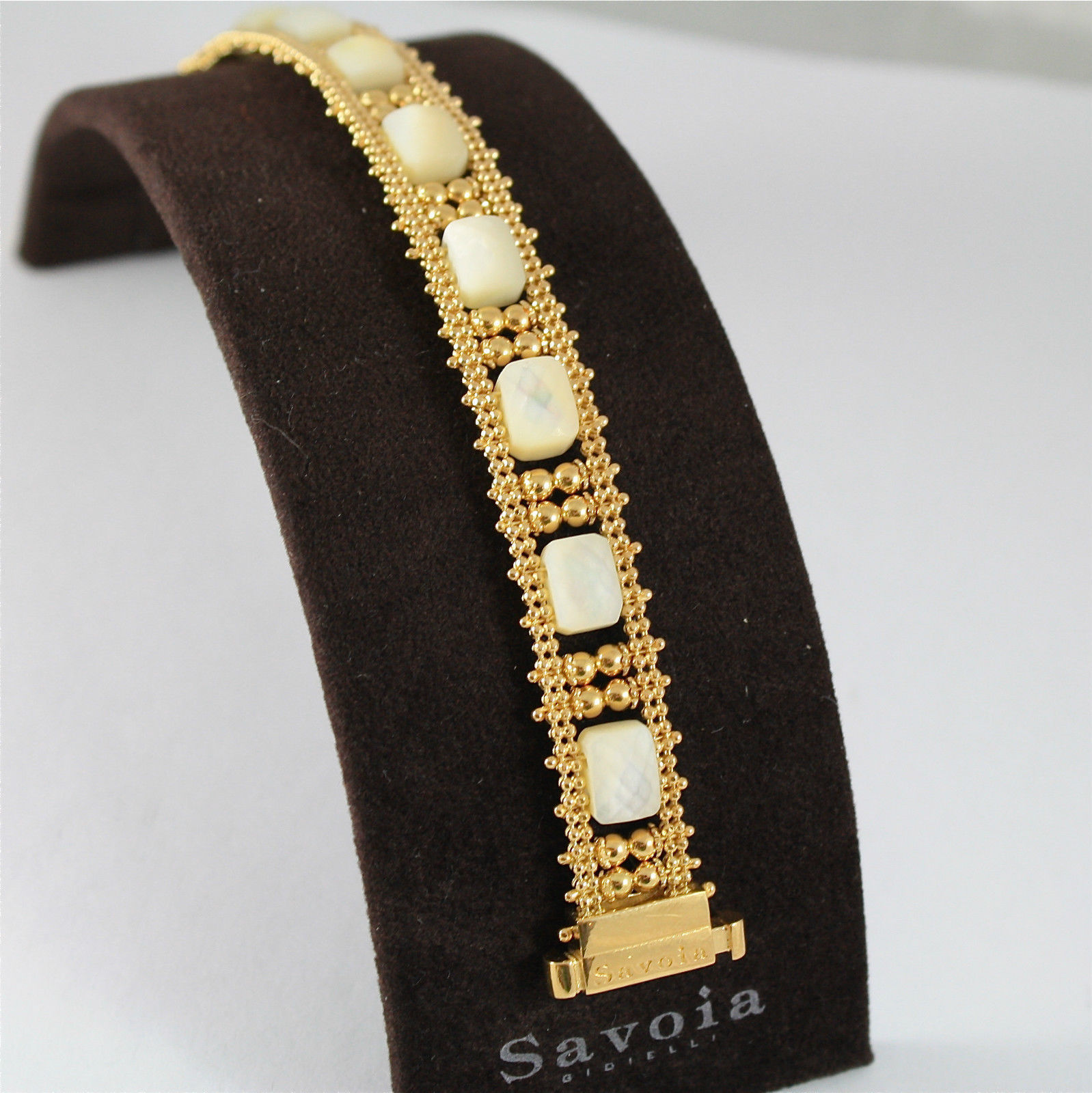 925 SILVER BRACELET, GOLD PL, MOTHER OF PEARL, MADE IN ITALY BY SAVOIA JEWELS.