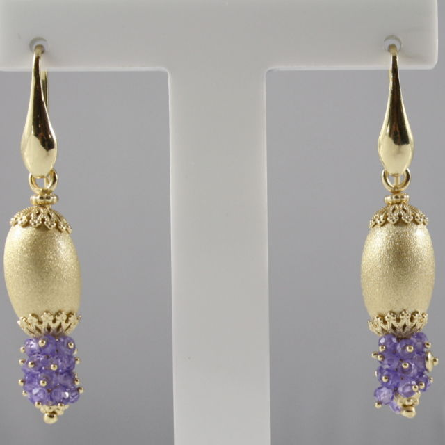 925 SILVER EARRINGS PLAT. GOLD, FACETED AMETHYST, MADE IN ITALY BY SAVOIA JEWELS