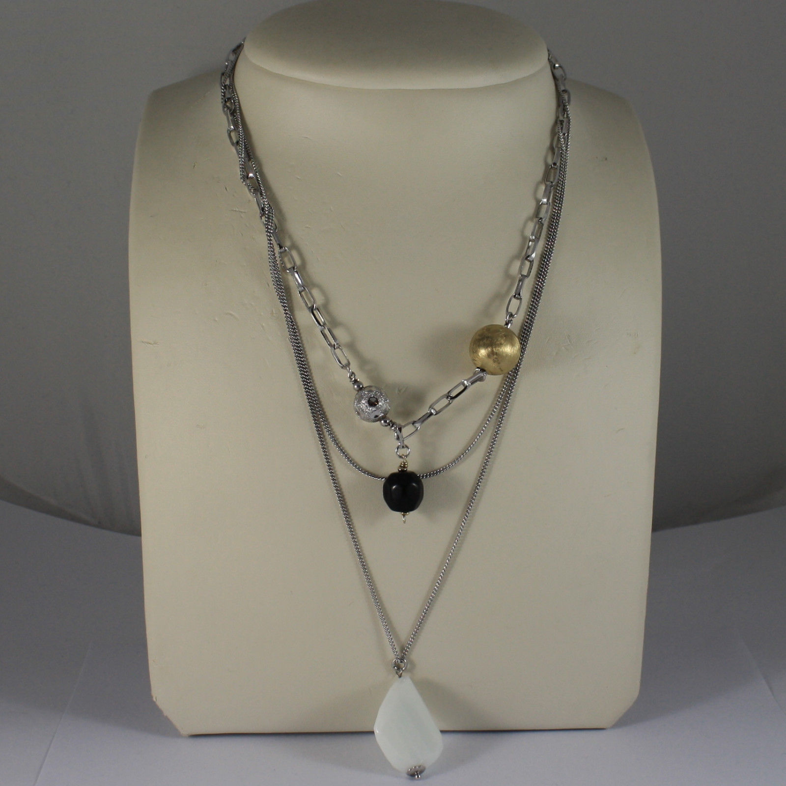 .925 RHODIUM MULTI STRAND NECKLACE WITH BLACK ONYX, WHITE AGATE AND SPHERES