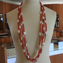 .925 SILVER RHODIUM MULTI STRAND NECKLACE WITH CORAL BAMBOO AND MOTHER OF PEARL