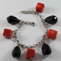 .925 RHODIUM SILVER BRACELET WITH CUBES OF CORAL BAMBOO AND DROPS OF BLACK ONYX