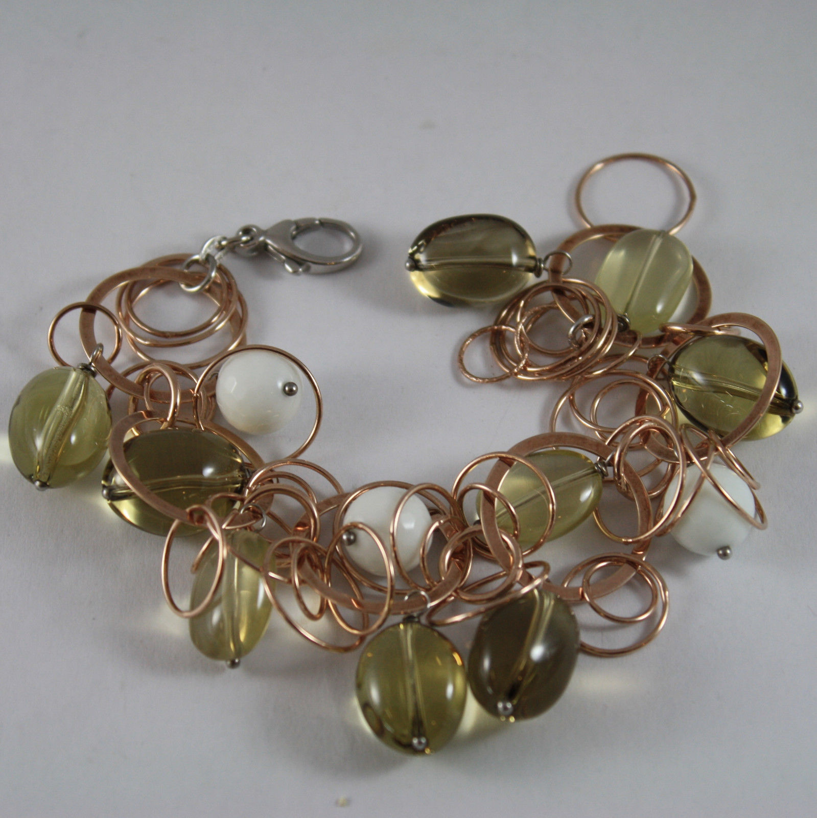 .925 RHODIUM ROSE GOLD PLATED SILVER  BRACELET WITH WHITE AGATE AND SMOKY QUARTZ