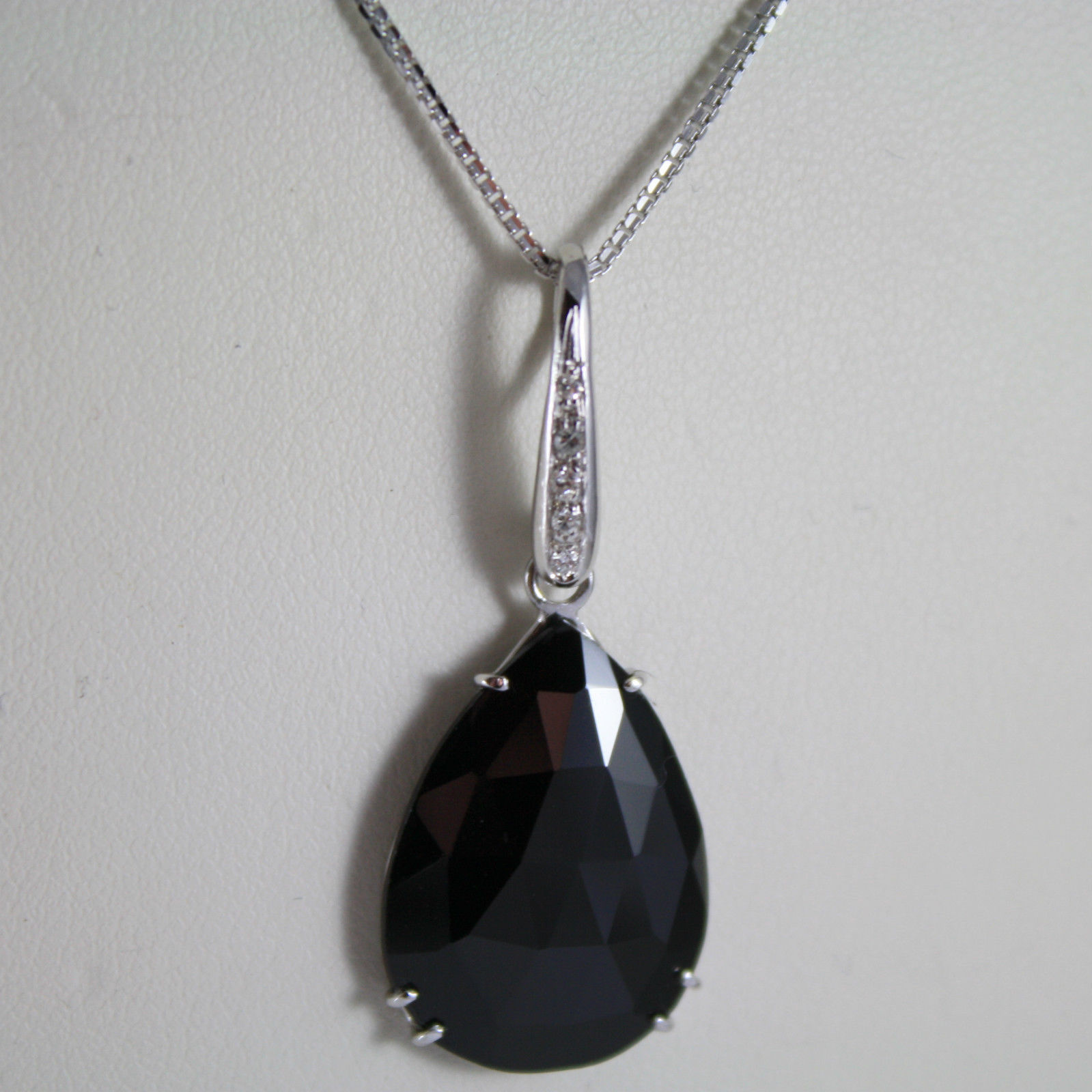 18K WHITE GOLD NECKLACE, DIAMOND CT 0.07, DROP BLACK SPINEL CT 9.5 MADE IN ITALY