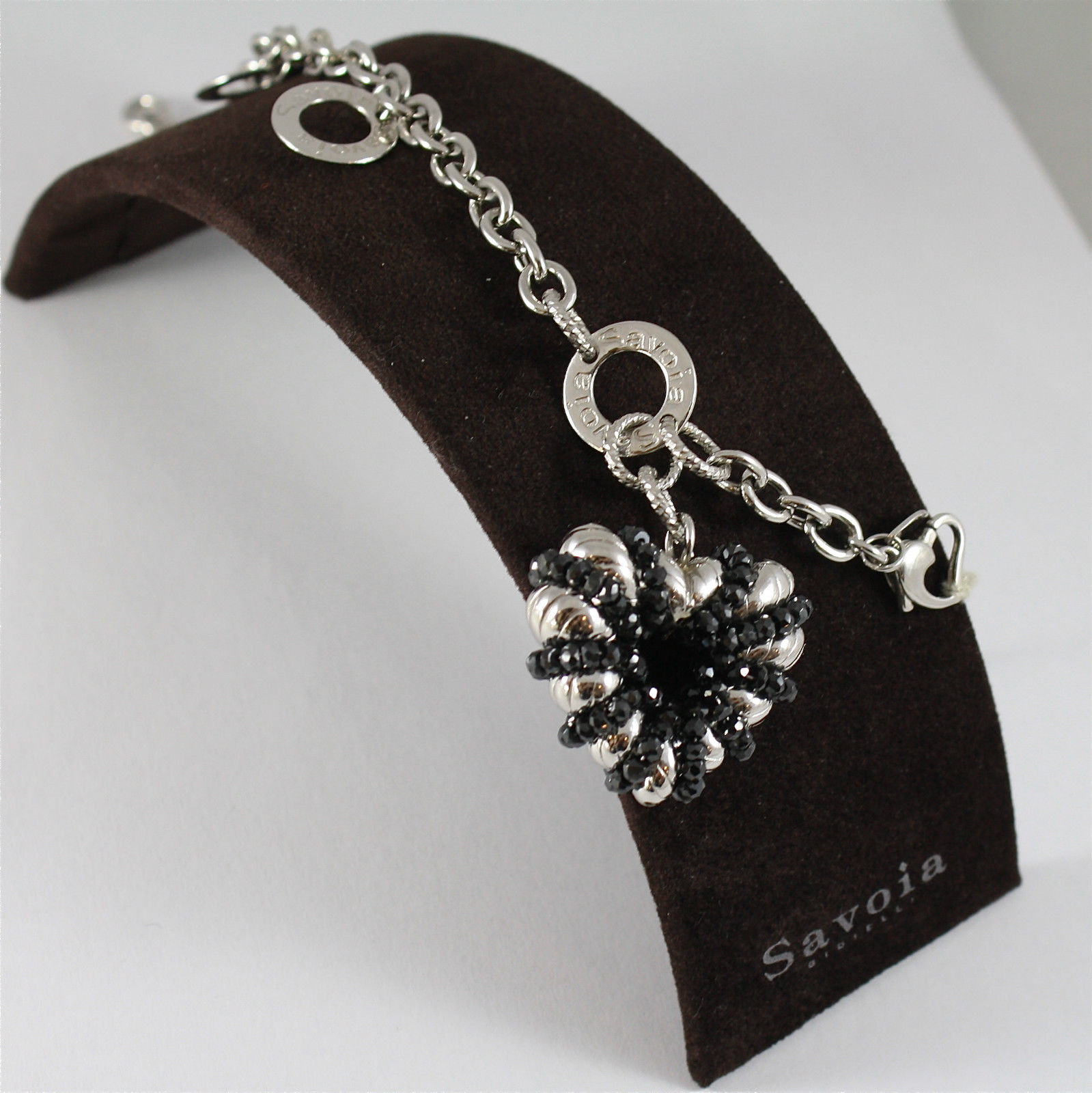 925 RODIUM SILVER BRACELET, SPINEL, HEART CHARM, MADE IN ITALY BY SAVOIA JEWELS