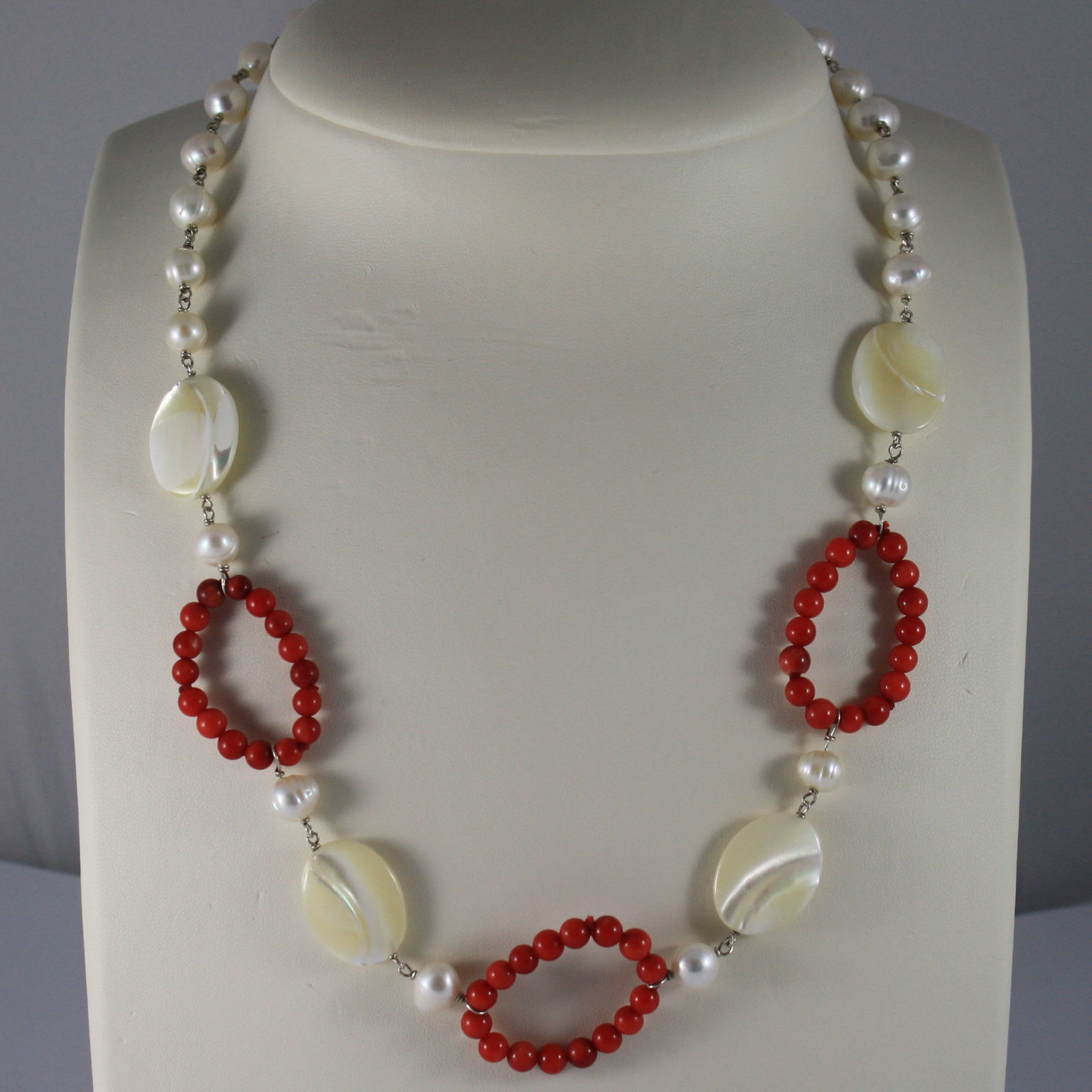 .925 RHODIUM SILVER NECKLACE WITH WHITE PEARLS, CORAL BAMBOO AND MOTHER OF PEARL