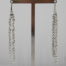 925 RODIUM SILVER OFFICINA BERNARDI EARRINGS TWO WIRE FACETED BALL MADE IN ITALY