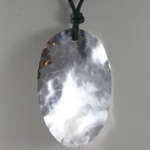 NECKLACE .925 RHODIUM SILVER PENDANT OVAL HAMMERED SATIN BY NANIS MADE IN ITALY