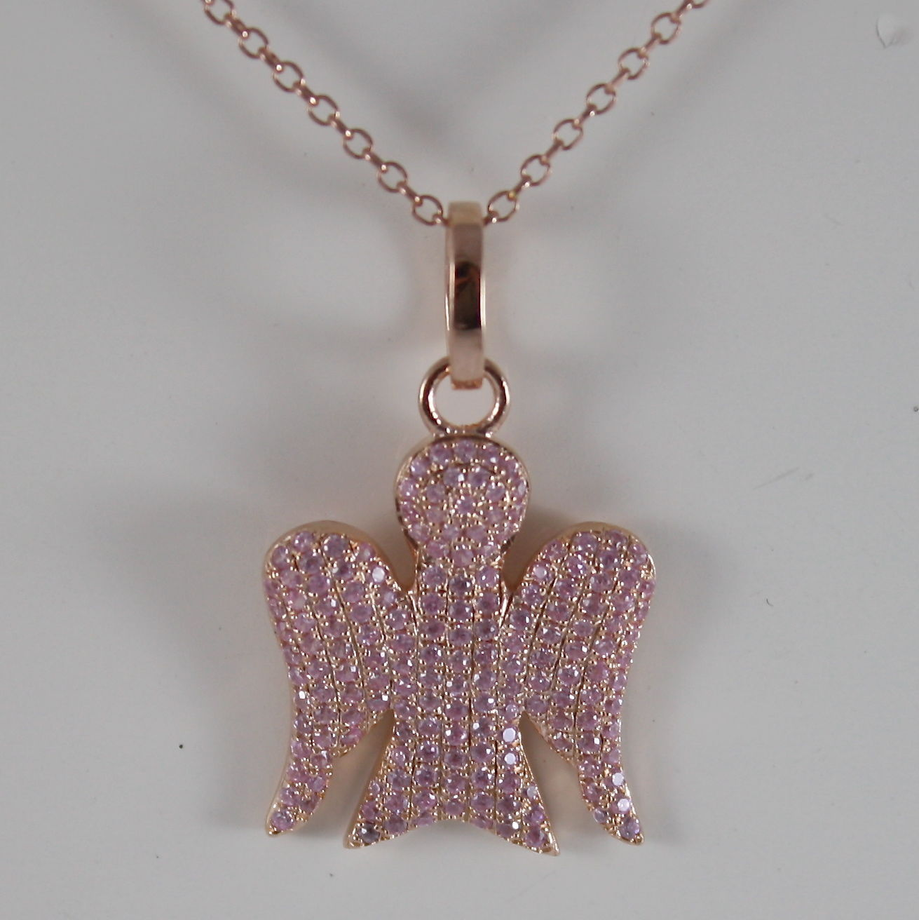 925 SILVER NECKLACE WITH ANGEL PENDANT GIA153 PLA ROSE GOLD BY ROBERTO GIANNOTTI