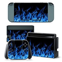 Skin Sticker Decal Cover for Nintendo Switch Blue Fire Design - $10.25