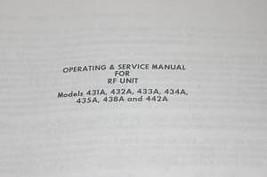 Weinschel RF Unit 431A/432A/433A/434A/435A/438A/ Operating Guide Service Manual - $25.95