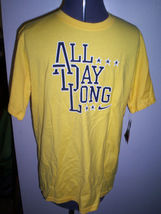 BOYS YOUTH NIKE ALL DAY LONG TEE T SHIRT YELLOW W/ NAVY BOLD LETTER NEW ... - $14.99