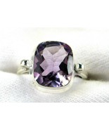 Table-Top Faceted Rectangle Purple Amethyst Ring Sterling Silver 925 Siz... - $101.00