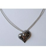 Ruthenium Sculpted Heart Pendant Sterling Silver Chain Necklace Contemporary - £151.89 GBP