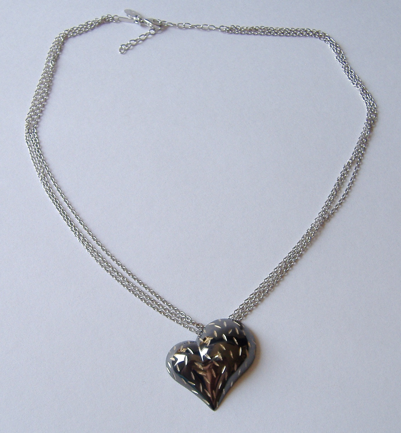 Ruthenium Sculpted Heart Pendant Sterling Silver Chain Necklace Contemporary
