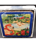Pimpernel Coaster Set Florida Pink Flamingos New - $20.00