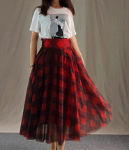 Womens Red Plaid Skirt Long Tulle Plaid Skirt - Red Check,High Waist, Plus Size image 4