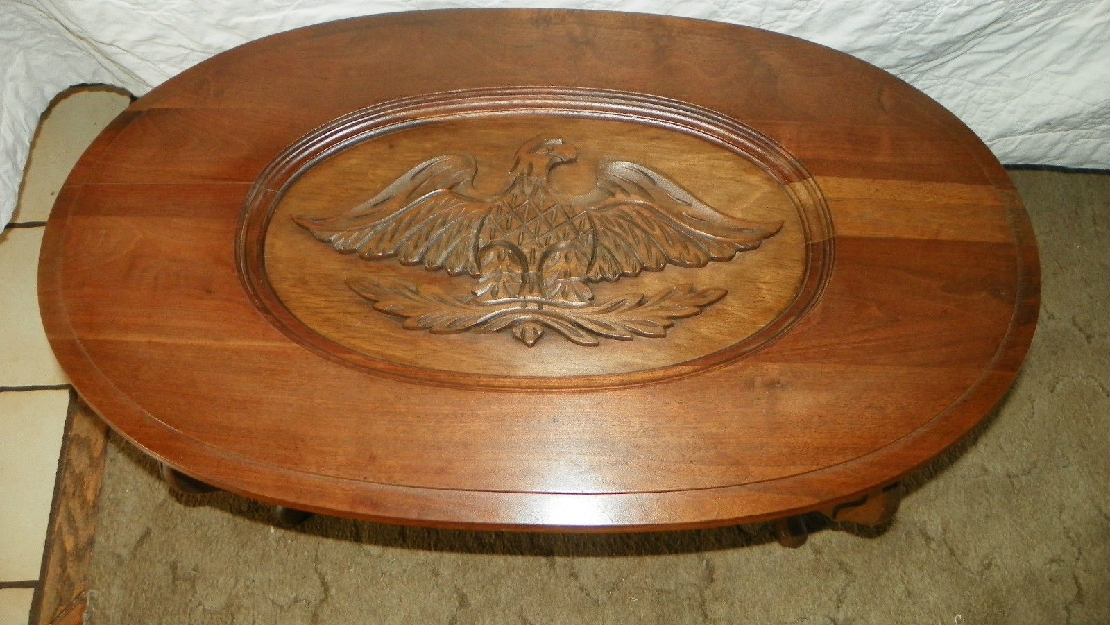 Walnut eagle carved coffee table ct and similar items