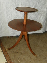 Solid Walnut 2 Tier End Table / Dumbwaiter Table  (T297) - $299.00