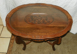 Walnut Carved Oval Coffee Table with Glass Tray  (CT51) - $499.00