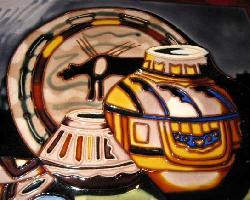 "Hand Painted Ceramic Glazed Pottery Painting 14""x11"""