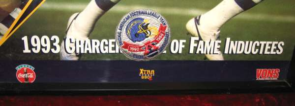 San Diego Chargers Patch & Poster Dan Fouts 25th Anniversary