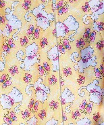 Carter's Girls 12 month zipper sleeper kittens butterflies yellow
