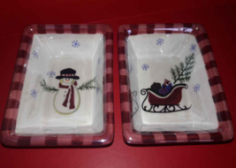 "Atico Christmas Candy Dish Snowman & Santa's Sleigh Rectangle 6"" Lot 2 M... - $8.42"