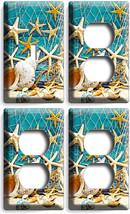 Rustic Nautical Sea Shell Fish Net 1 Light Switch Plate 3 Outle Ts Bathroom Decor - $35.09