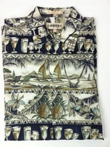 Campia Moda Sailboat Cocktails Hawaiian Aloha Shirt Island Bannanas Mens L - $17.30