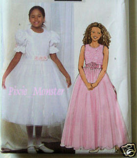 Butterick Pattern 4441 Girls Formal Dress 7-8-10 NEW