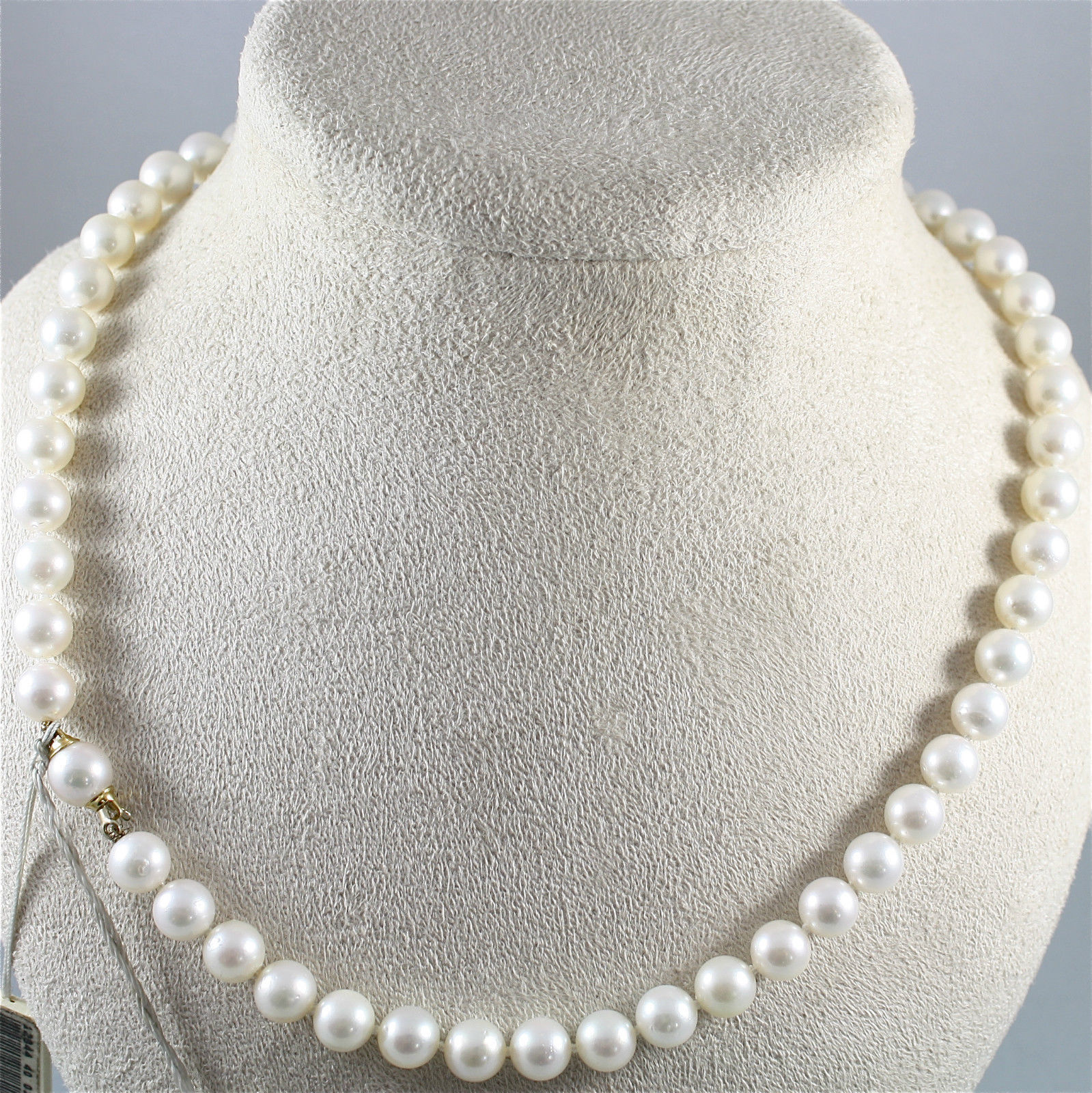 NECKLACE WHITE SALTWATER PEARLS DIAMETER .31 In 18K YELLOW GOLD CLOSURE BY NIMEI