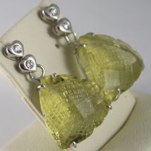 SOLID 18K WHITE GOLD EARRINGS, HEART, DIAMOND CT 0.12, LEMON QUARTZ CT 16.00
