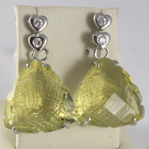 SOLID 18K WHITE GOLD EARRINGS, HEART, DIAMOND CT 0.12, LEMON QUARTZ CT 16.00 image 2