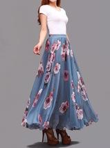 Summer MAXI Floral SKIRT Women White Flower Maxi Chiffon Skirt Long Beach Skirt image 7