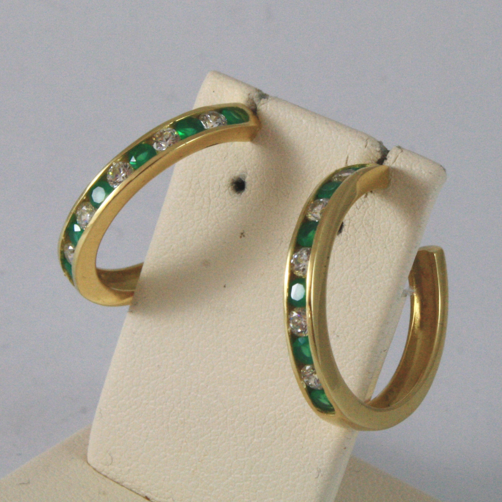 SOLID 18KT. YELLOW GOLD CIRCLE EARRINGS WITH ZIRCONIA AND GREEN TOURMALINES