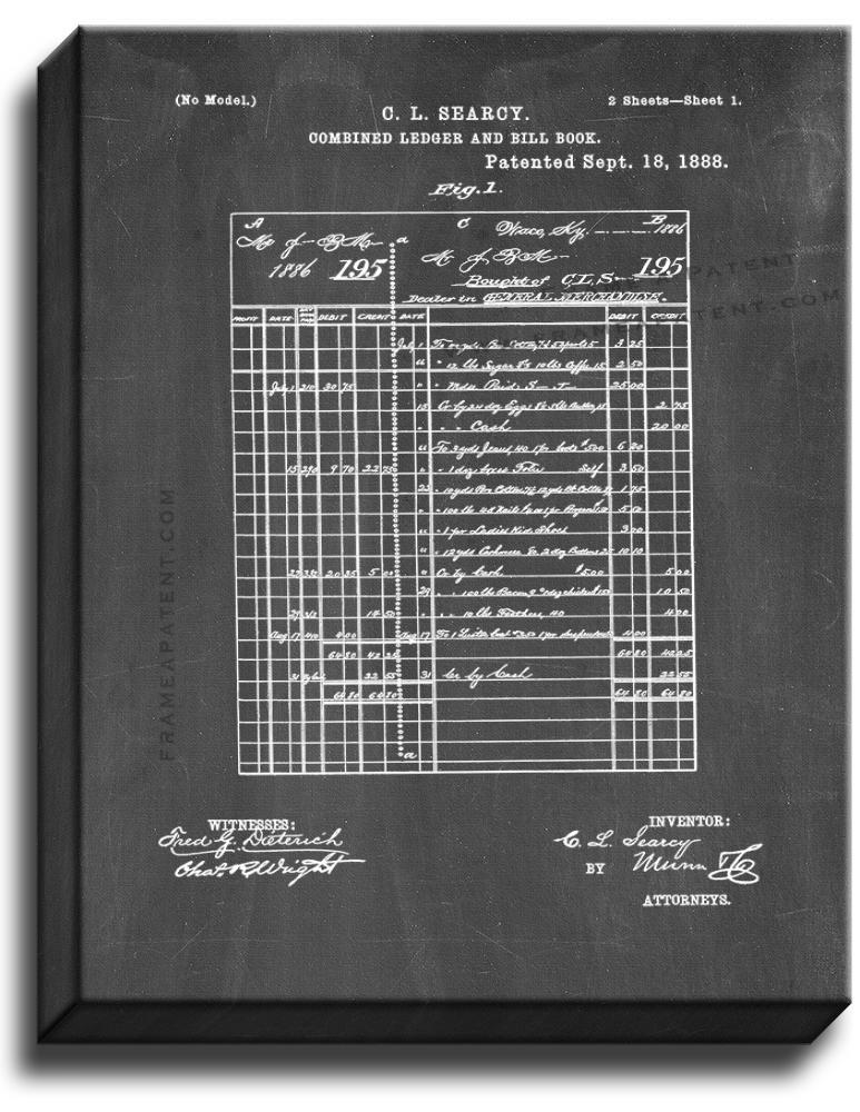 Primary image for Combined Ledger And Bill Book Patent Print Chalkboard on Canvas