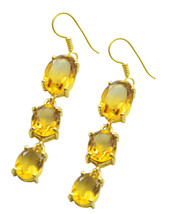 classy Citrine CZ Gold Plated Yellow Earring genuine usual US gift - $14.84
