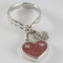 SOLID 18K WHITE GOLD HEART RING BAG BAGS WITH RED GLAM, BY ROSATO, MADE IN ITALY