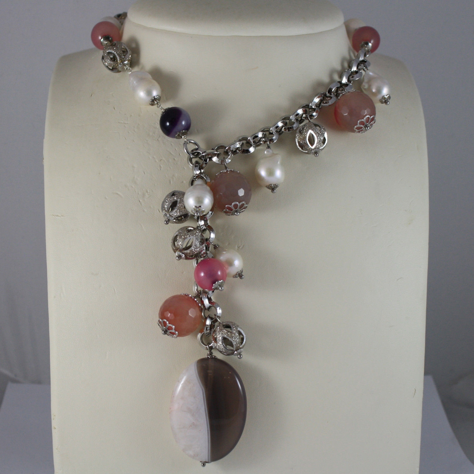 .925 SILVER RHODIUM NECKLACE WITH WHITE PEARLS, AND PINK, PURPLE AND BROWN AGATE