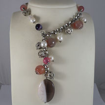 .925 SILVER RHODIUM NECKLACE WITH WHITE PEARLS, AND PINK, PURPLE AND BRO... - $584.25