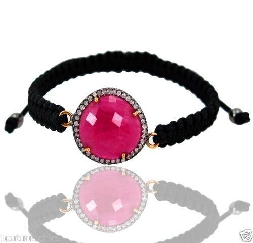 Pink Sapphire Gemstone Sterling Silver Pave Diamond 14 K Gold Bracelet Jewelry