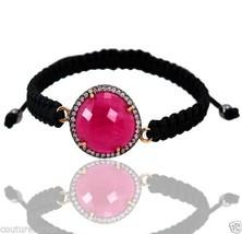 Pink Sapphire Gemstone Sterling Silver Pave Diamond 14 K Gold Bracelet J... - $243.10