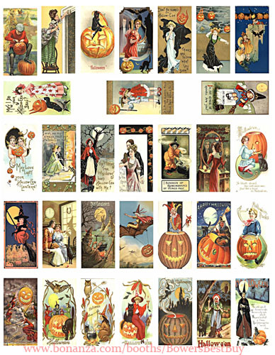"Vintage Halloween postcards art domino collage sheet 1"" X 2"" digital download"