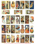 "Vintage Halloween postcards art domino collage sheet 1"" X 2"" digital dow... - $3.99"