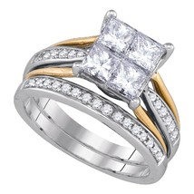 14k White Gold Princess Diamond Bridal Wedding Engagement Ring Band Set 2 Cttw - £3,786.87 GBP
