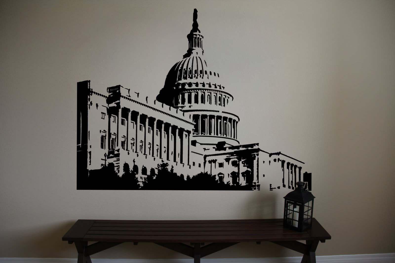 "Capitol Building Washington DC Senate Vinyl Wall Sticker Decal 44""h x 60""w"