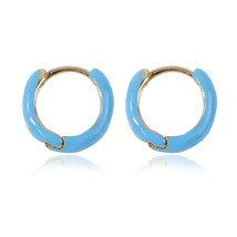 New Punk Round Circle Small Stud Earring Red Blue Multicolor Simple Styl... - $8.19